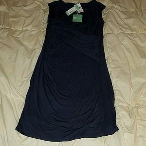 Knit mock wrap dress in navy.